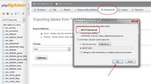 Export MySQL databázy